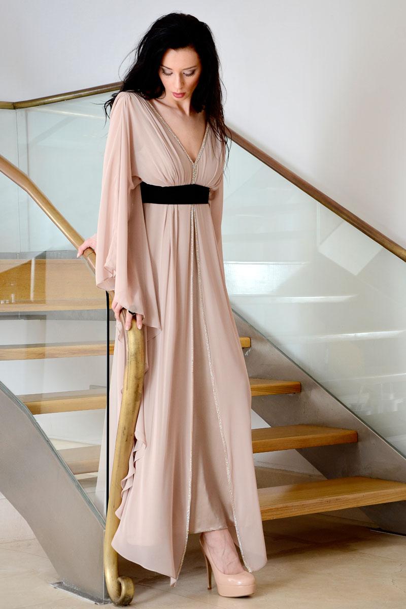 Φόρεμα maxi καφτάνι με strass τελείωμα.