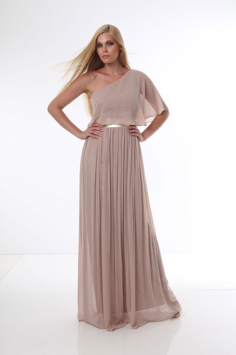 Φόρεμα maxi μουσελίνα - ένας ώμος βολάν