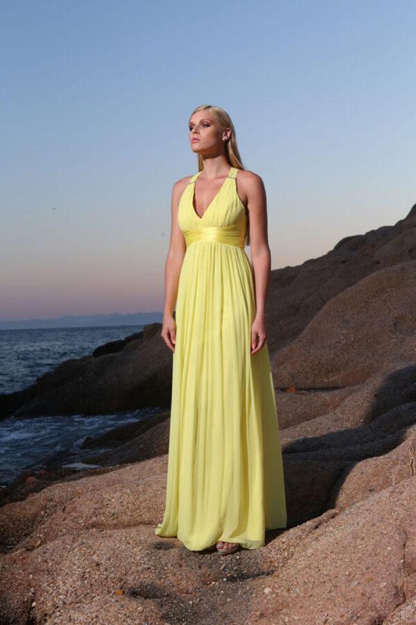 Φόρεμα maxi μουσελίνα - χιαστί πλάτη.