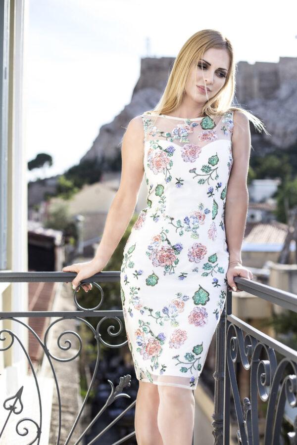 φόρεμα midi δαντέλα flower