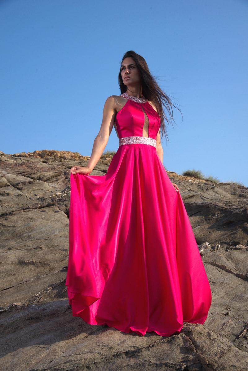 φόρεμα σατενιζέ εξώπλατο
