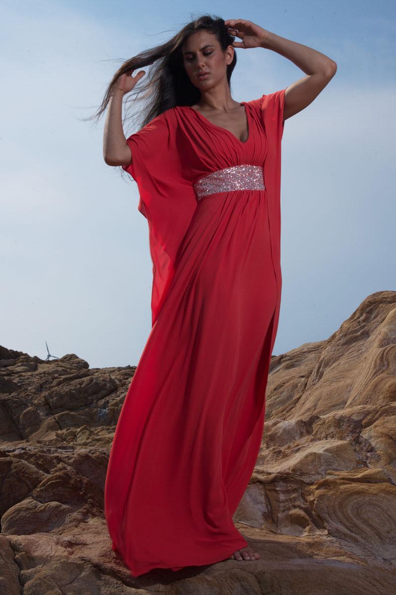 Φόρεμα μουσελίνα - καφτάνι με μπάσκα glitter.