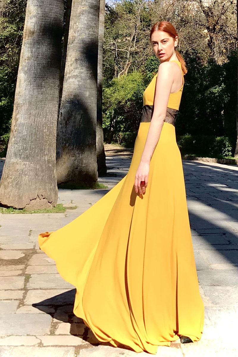 Φόρεμα maxi μουσελίνα - παρτοί ώμοι