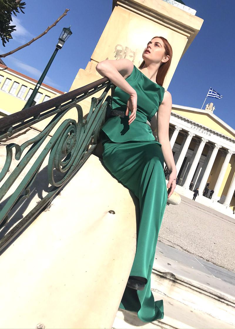 αμάνικο maxi σατέν φόρεμα