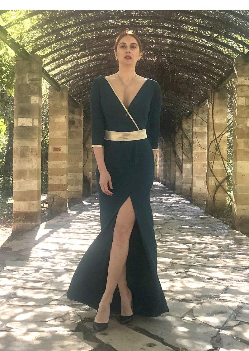 φόρεμα κρουαζέ με μανίκια