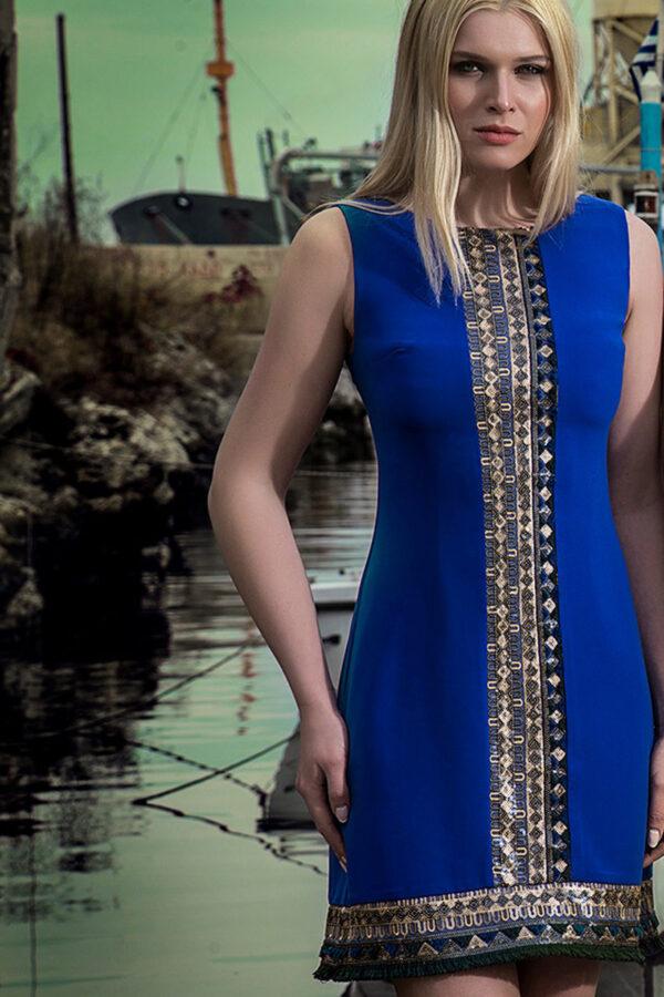 Φόρεμα κρέπ multicolour