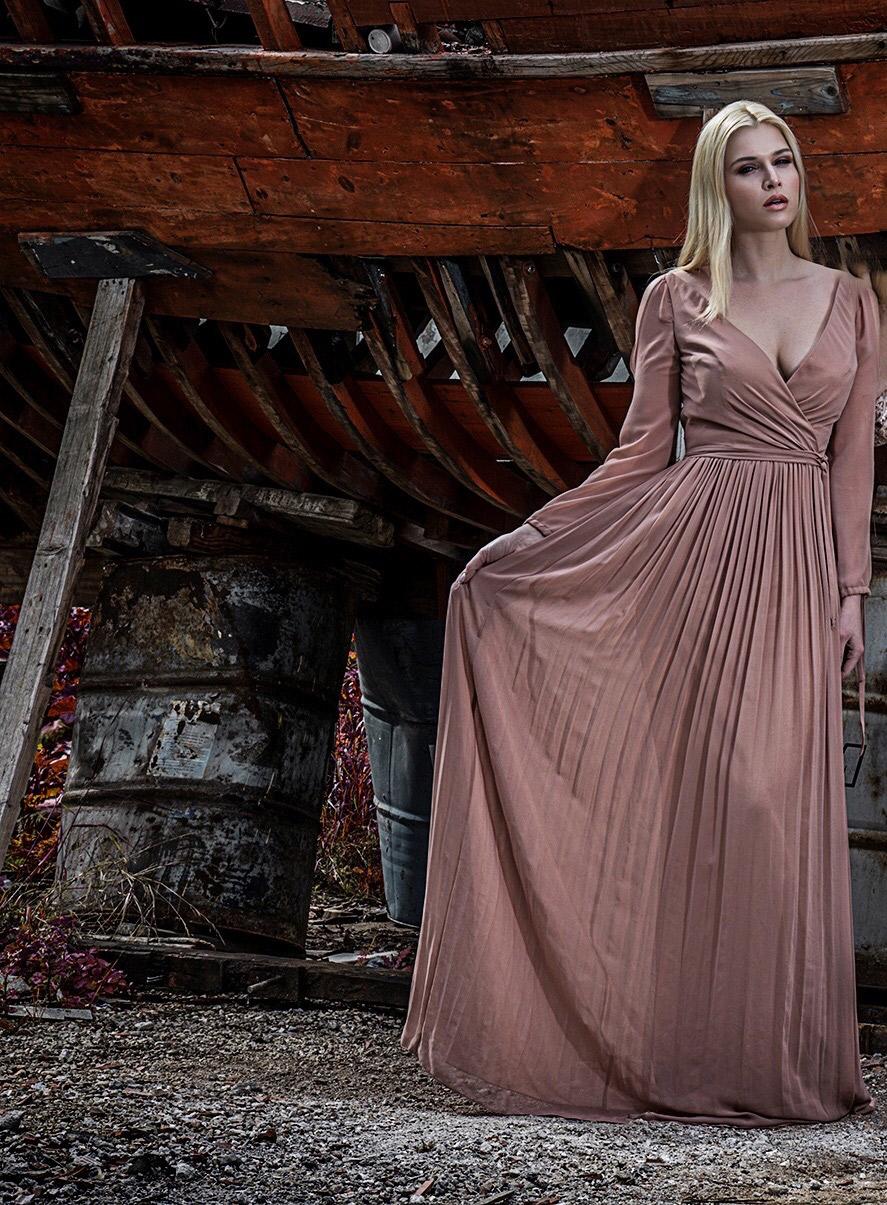 Φόρεμα μουσελίνα maxi